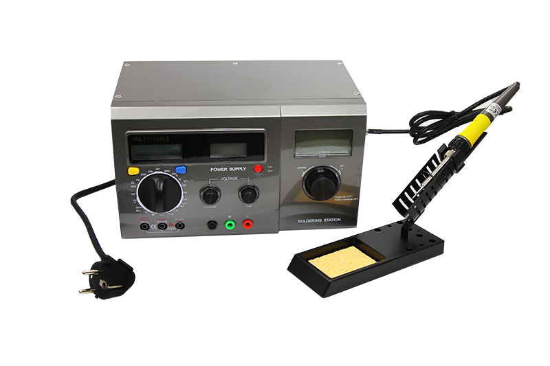 Фото Многофункциональная цифровая паяльная станция Rexant, с мультиметром и ЖК дисплеем, 220 В/48 Вт {12-0143}