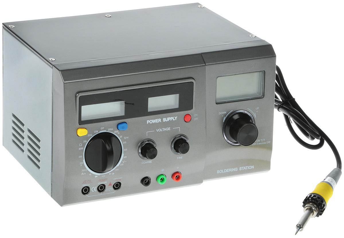 Фото Многофункциональная цифровая паяльная станция Rexant, с мультиметром и ЖК дисплеем, 220 В/48 Вт {12-0143} (2)