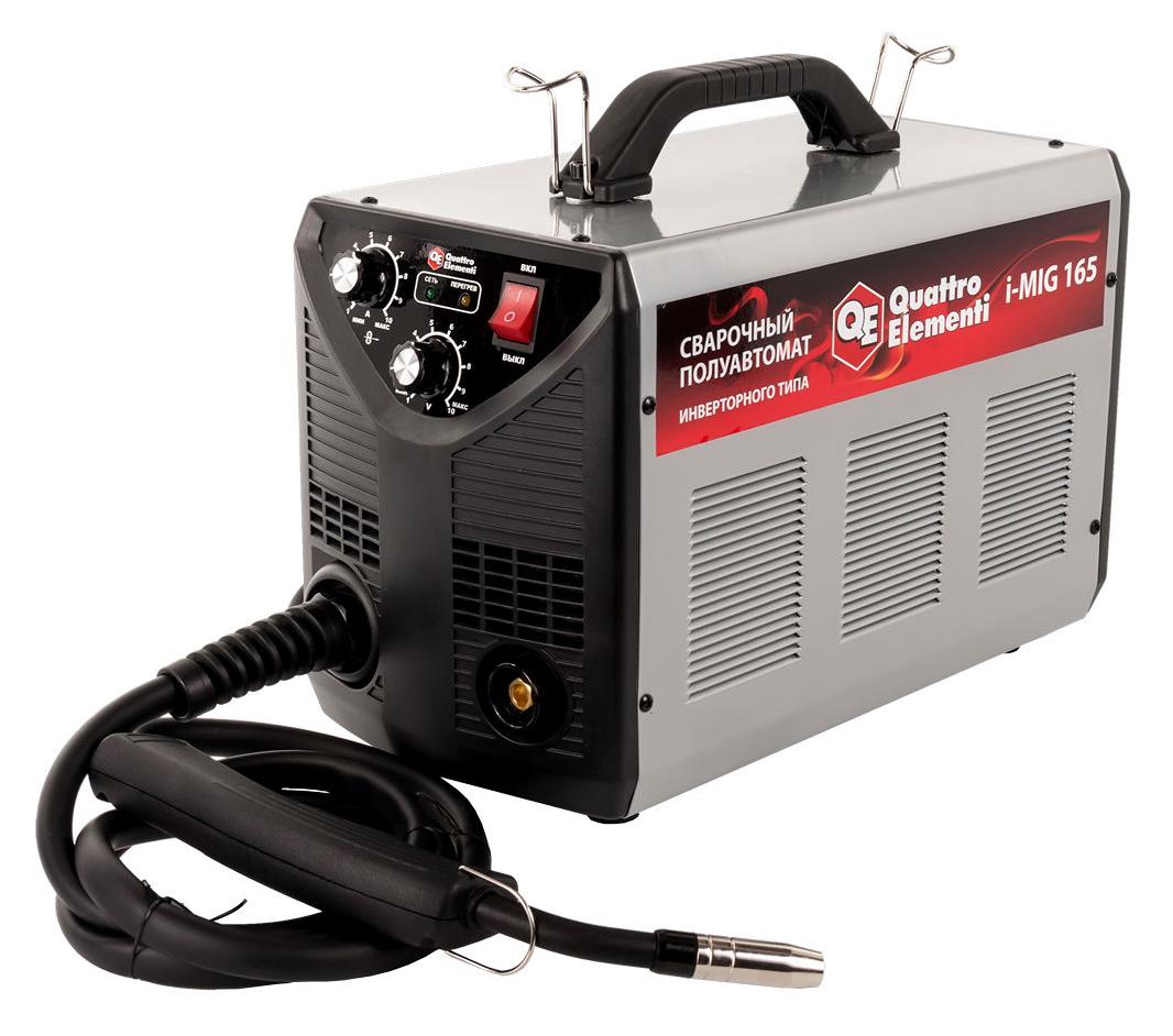 Фото Аппарат полуавтоматической сварки, инвертор Quattro Elementi i-MIG 165 (150 А, ПВ 30%, проволока 0,6-0,8 мм, 11 кг, 220 В) {770-056}