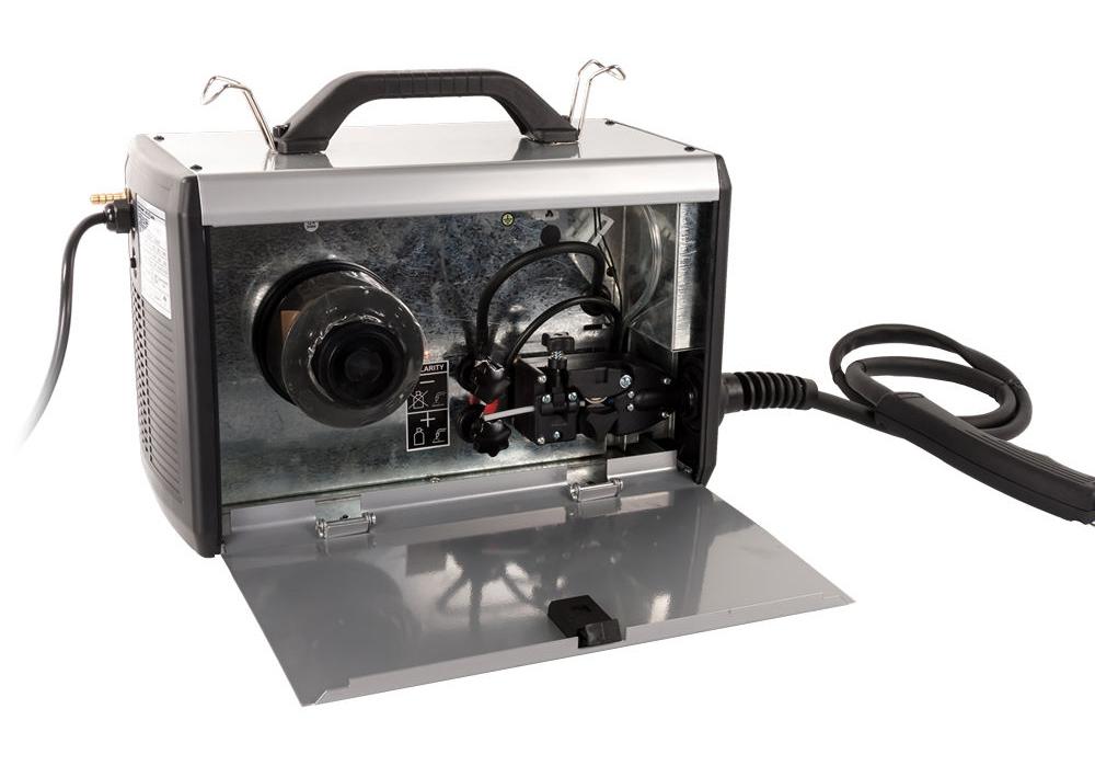 Фото Аппарат полуавтоматической сварки, инвертор Quattro Elementi i-MIG 165 (150 А, ПВ 30%, проволока 0,6-0,8 мм, 11 кг, 220 В) {770-056} (1)