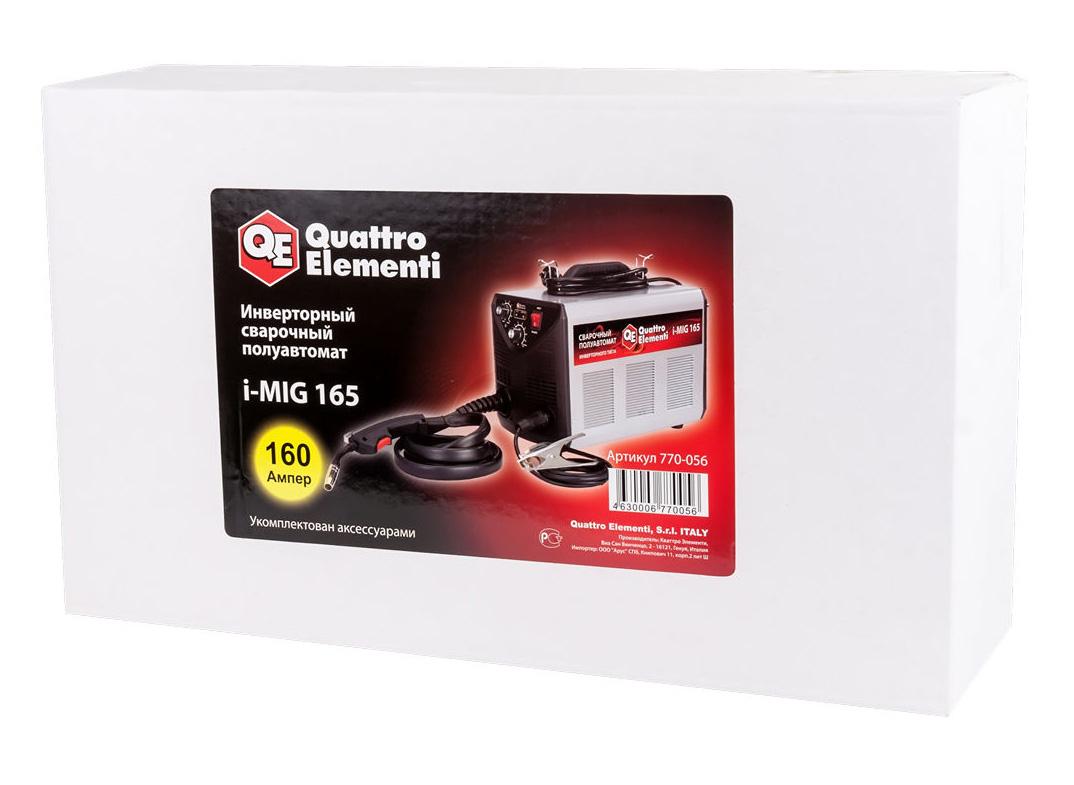 Фото Аппарат полуавтоматической сварки, инвертор Quattro Elementi i-MIG 165 (150 А, ПВ 30%, проволока 0,6-0,8 мм, 11 кг, 220 В) {770-056} (6)