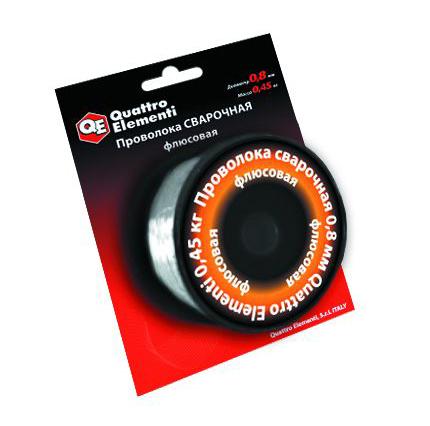 Фото Проволока сварочная Quattro Elementi флюсовая, 0.8 мм, масса 0.45 кг {770-384}