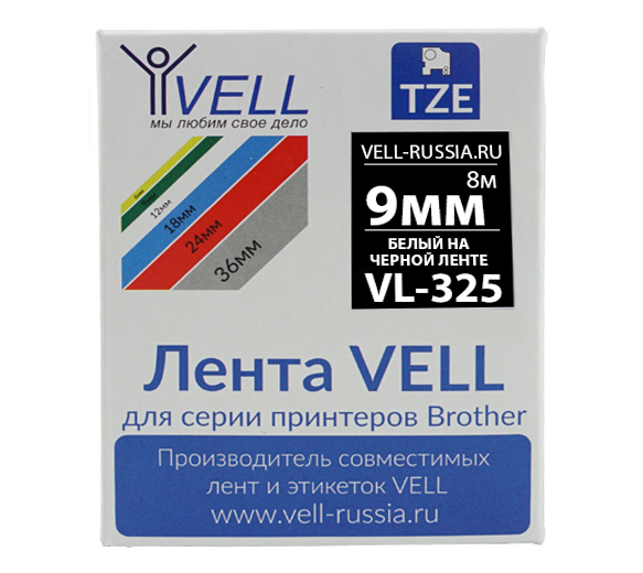 Фото Лента Vell VL-325 (Brother TZE-325, 9 мм, белый на черном) для PT 1010/1280/D200/H105/E100/ D600/E300/2700/ P700/E550/9700 {Vell325}