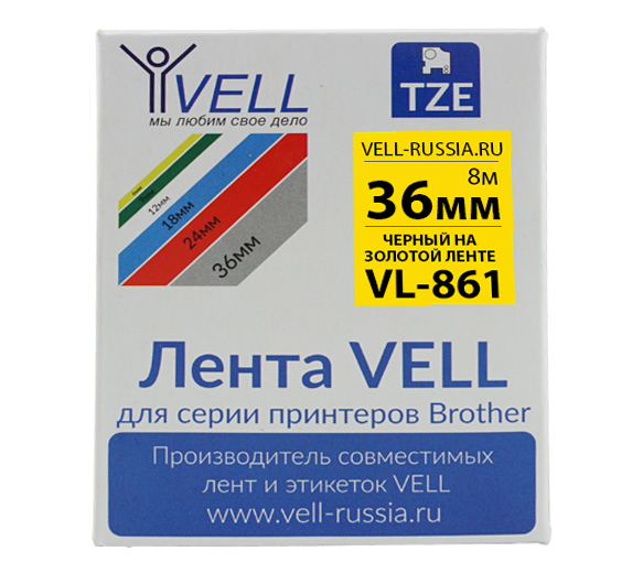 Фото Лента Vell VL-861 (Brother TZE-861, 36 мм, черный на золотом) для PT9700/P900W {Vell861}