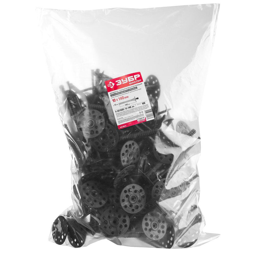 Фото Дюбель для изоляционных материалов полипропиленовый, пластиковый стержень, 10 x 140 мм, 100 шт, ЗУБР {4-301505-10-140_z01} (2)