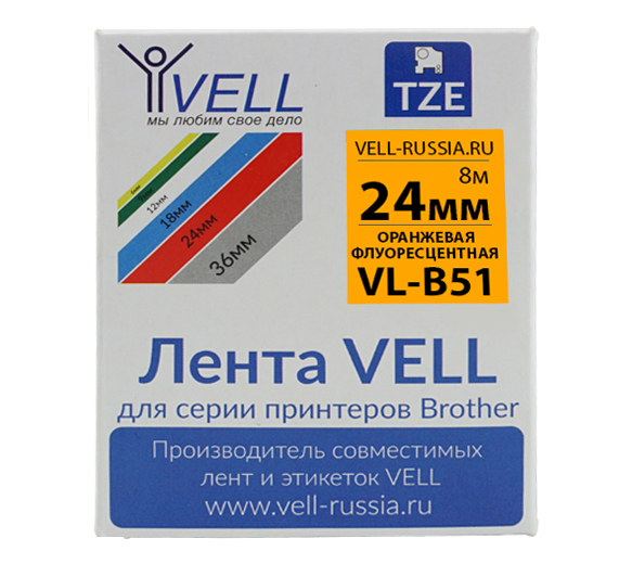 Фото Лента Vell VL-B51 (Brother TZE-B51, 24 мм, черный на оранжевом) для PT D600/2700/P700/P750/ PTE550/9700/P900 {Vellb51}