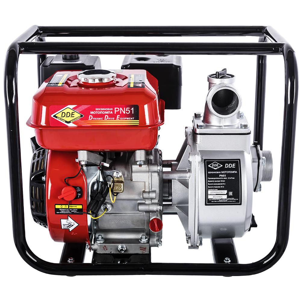 Фото Мотопомпа бензиновая DDE PN51 (выход 50 мм 5 л.c, 25 куб.м/час, топливный бак 3,6 л, 24 кг) (1)
