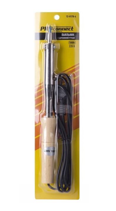 Фото Паяльник ПД PROconnect, 220 В / 100 Вт, деревянная ручка {12-0178-4} (1)