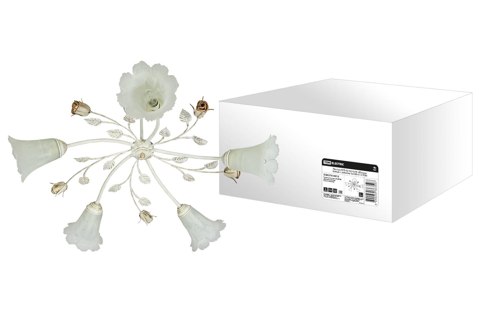 Фото Люстра НСБ-02-02-5х40 «Юнона» белый с золотом 5х40Вт E14 TDM {SQ0370-0013}