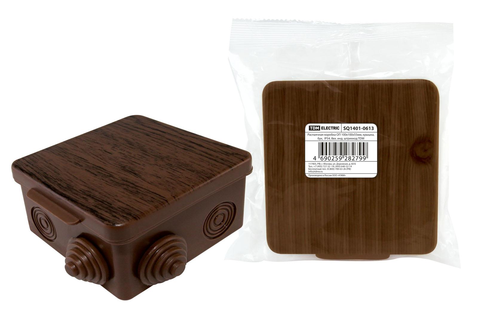 Фото Распаячная коробка ОП 100х100х55мм, крышка, бук, IP54, 8вх. инд. штрихкод TDM {SQ1401-0613}