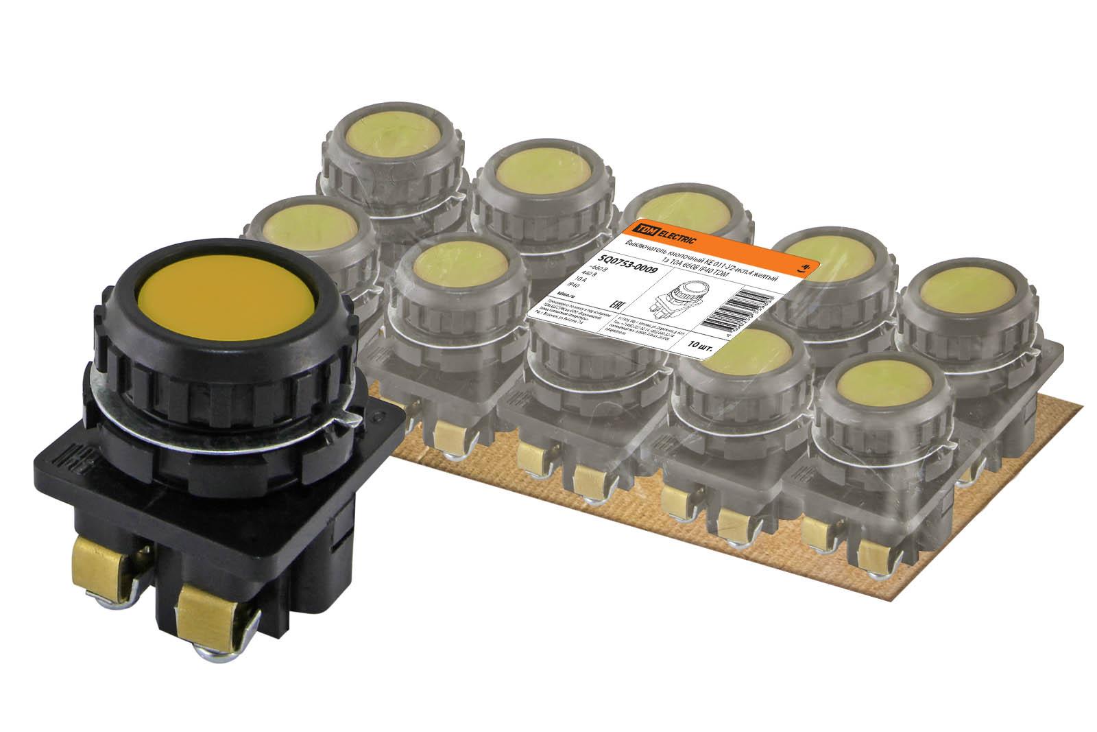 Фото Выключатель кнопочный КЕ 011-У2-исп.4 желтый 1з 10A 660B IP40 TDM {SQ0753-0009}