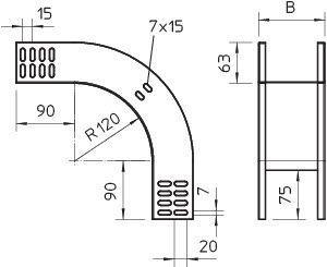 Фото Угол для лотка вертикальный внешний 90град. 500х60 RBV 650 F FS OBO 7007075