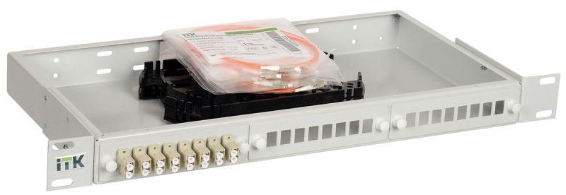 Фото Кросс укомплектованный 1U LC (duplex) 6 портов (OM2) ITK FOBX24-1U-6LCUD50
