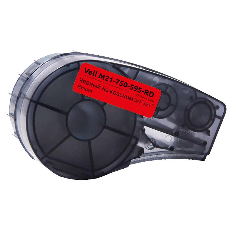 Фото Картридж Vell M21-750-595-RD (19.05 мм / 6.4 м, винил, черный на красном, VL142801)