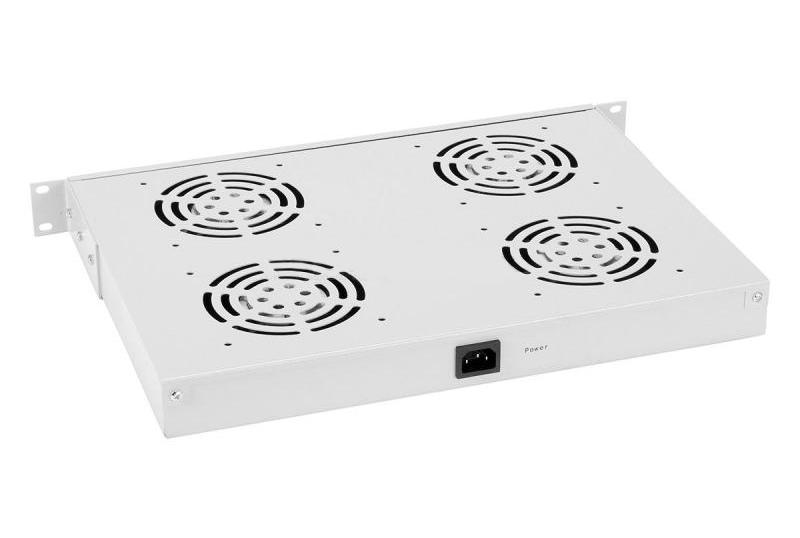 """Фото 19"""" Вентиляторный модуль с термостатом Rexant 1U с 4-мя вентиляторами {04-2605}"""