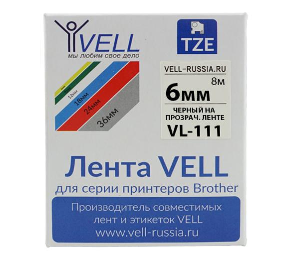 Фото Лента Vell VL-111 (Brother TZE-111, 6 мм, черный на прозрачном) для PT 1010/1280/D200/H105/E100/ D600/E300/2700/ P700/E550/9700 {Vell111}