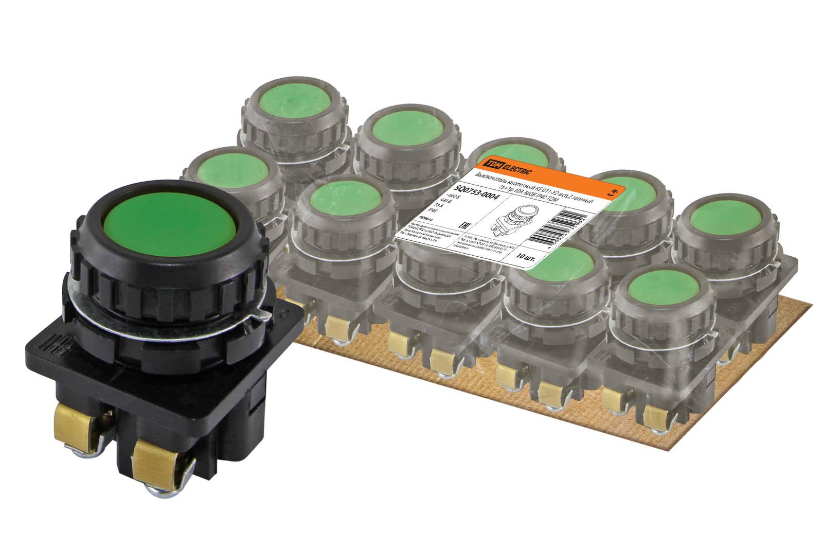 Фото Выключатель кнопочный КЕ 011-У2-исп.2 зеленый 1з+1р 10A 660B IP40 TDM {SQ0753-0004}