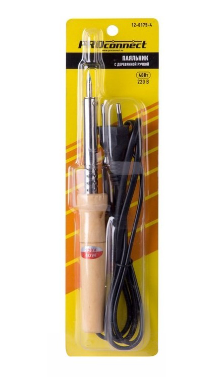 Фото Паяльник ПД PROconnect 220 В / 40 Вт, деревянная ручка {12-0175-4} (1)