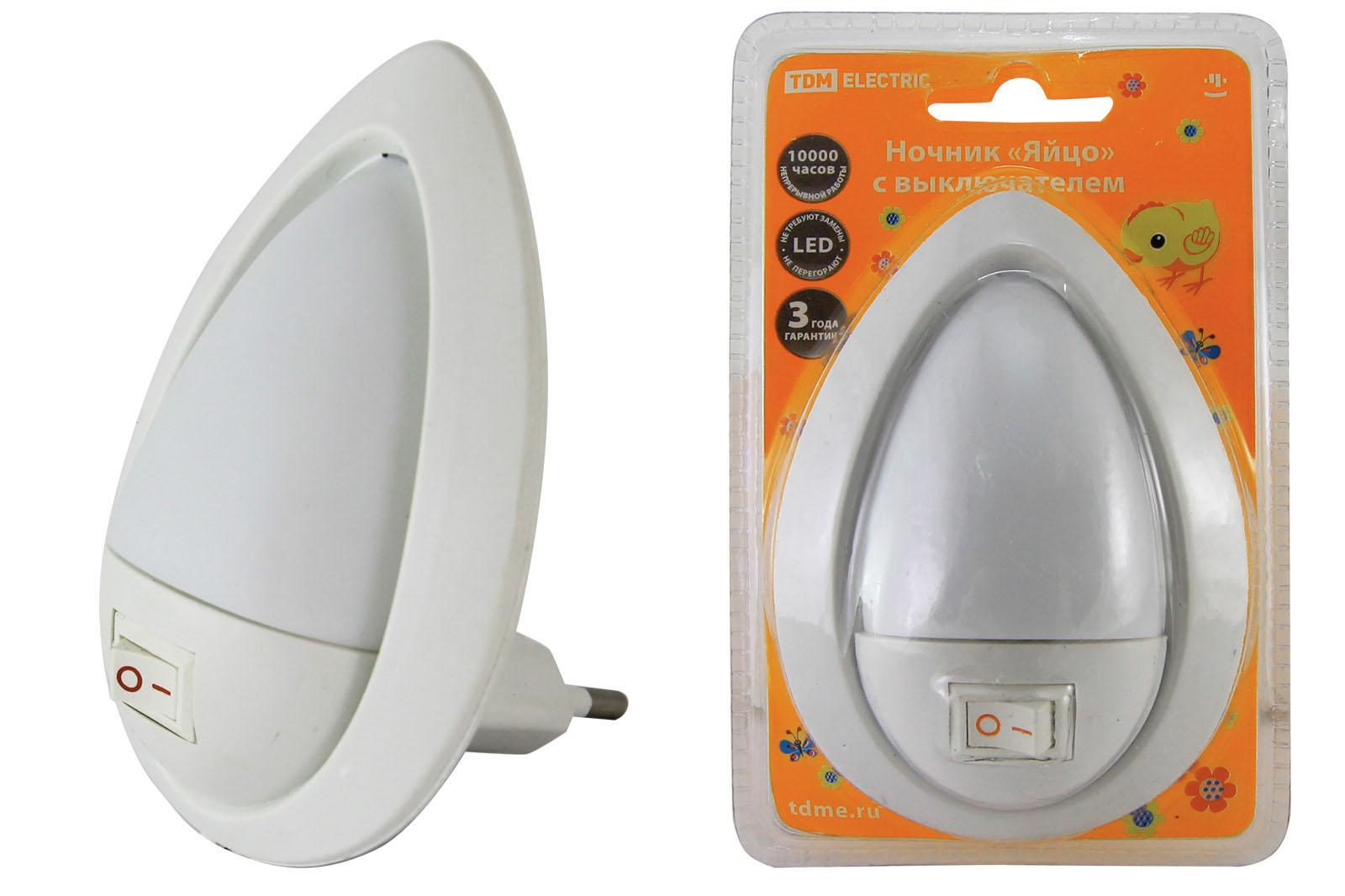 """Фото Ночник """"Яйцо"""" с выключателем, белый, 0,5 Вт, 220 В TDM {SQ0357-0012}"""