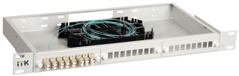 Фото Кросс укомплектованный 1U LC (duplex) 6 портов (OM3) ITK FOBX24-1U-6LCUD03