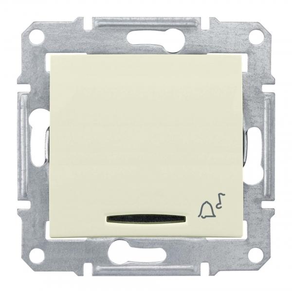 Фото Выключатель кнопочный SEDNA с симв. звонок с подс., сх.1, 10а, 250в, IP44, бежевый {SDN1600447}