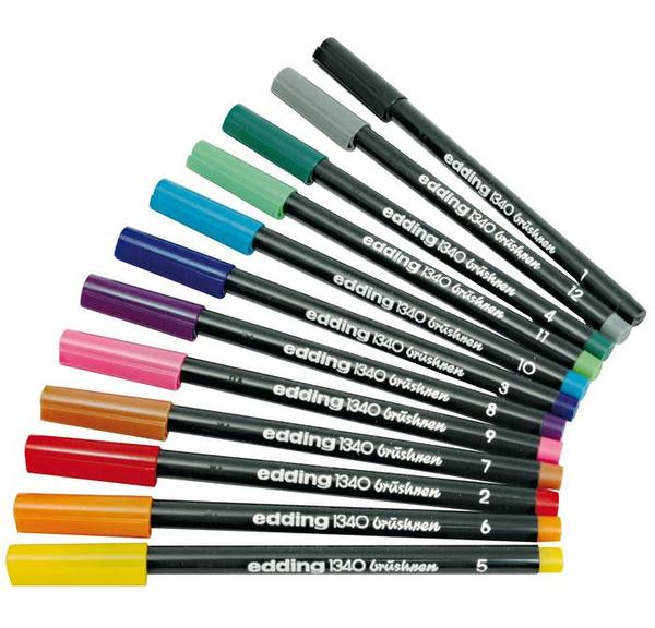 Фото Набор маркеров Edding с наконечником в виде кисти, 10 цветов (набор 51.150) в пластиковом пенале, ассорти {E-1340#10S} (1)