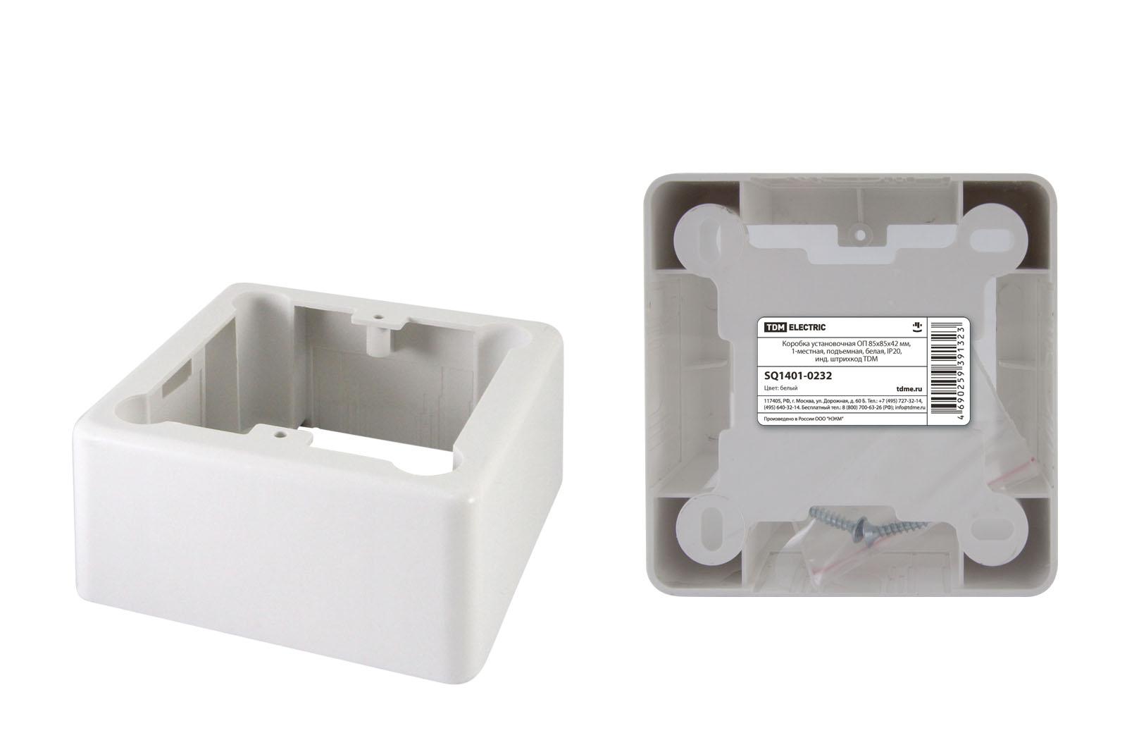 Фото Коробка установочная ОП 85х85х42 мм, 1-местная, подъемная, белая, IP20, инд. штрихкод TDM {SQ1401-0232}