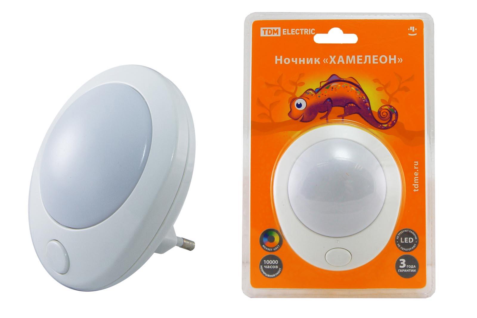 "Фото Ночник ""Хамелеон""  D 75  с выключателем,белый, 0,5 Вт, 220 В TDM {SQ0357-0007}"