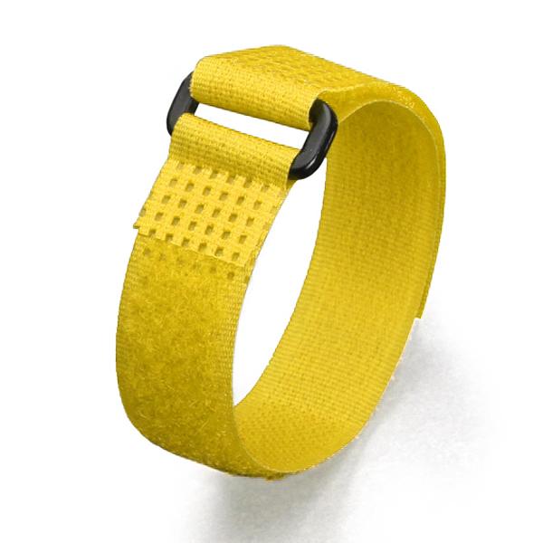 Фото Кабельные стяжки Велькро с пластиковой пряжкой КСВ-П 25х300 мм, желтые {75049}