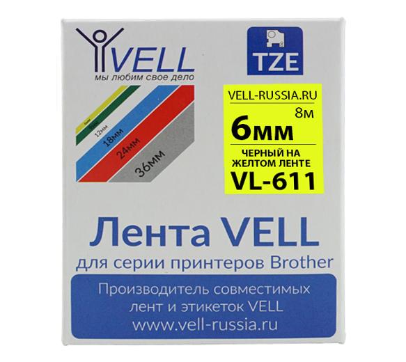 Фото Лента Vell VL-611 (Brother TZE-611, 6 мм, черный на желтом) для PT 1010/1280/D200/H105/E100/ D600/E300/2700/ P700/E550/9700 {Vell611}