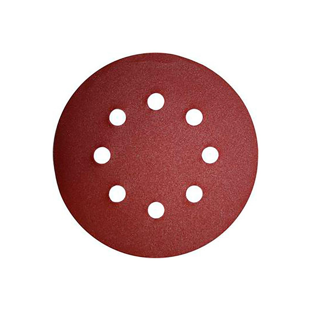 Фото Шлифовальные круги Практика Профи, на липкой основе, Р180, для металла и дерева, 8 отверстий, 125 мм (25 шт) {034-199}