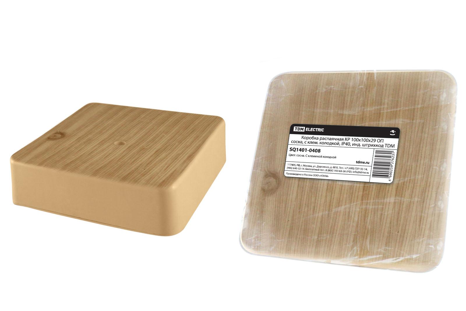 Фото Коробка распаячная КР 100х100х29 ОП сосна, с клем. колодкой, IP40, инд. штрихкод TDM {SQ1401-0408}