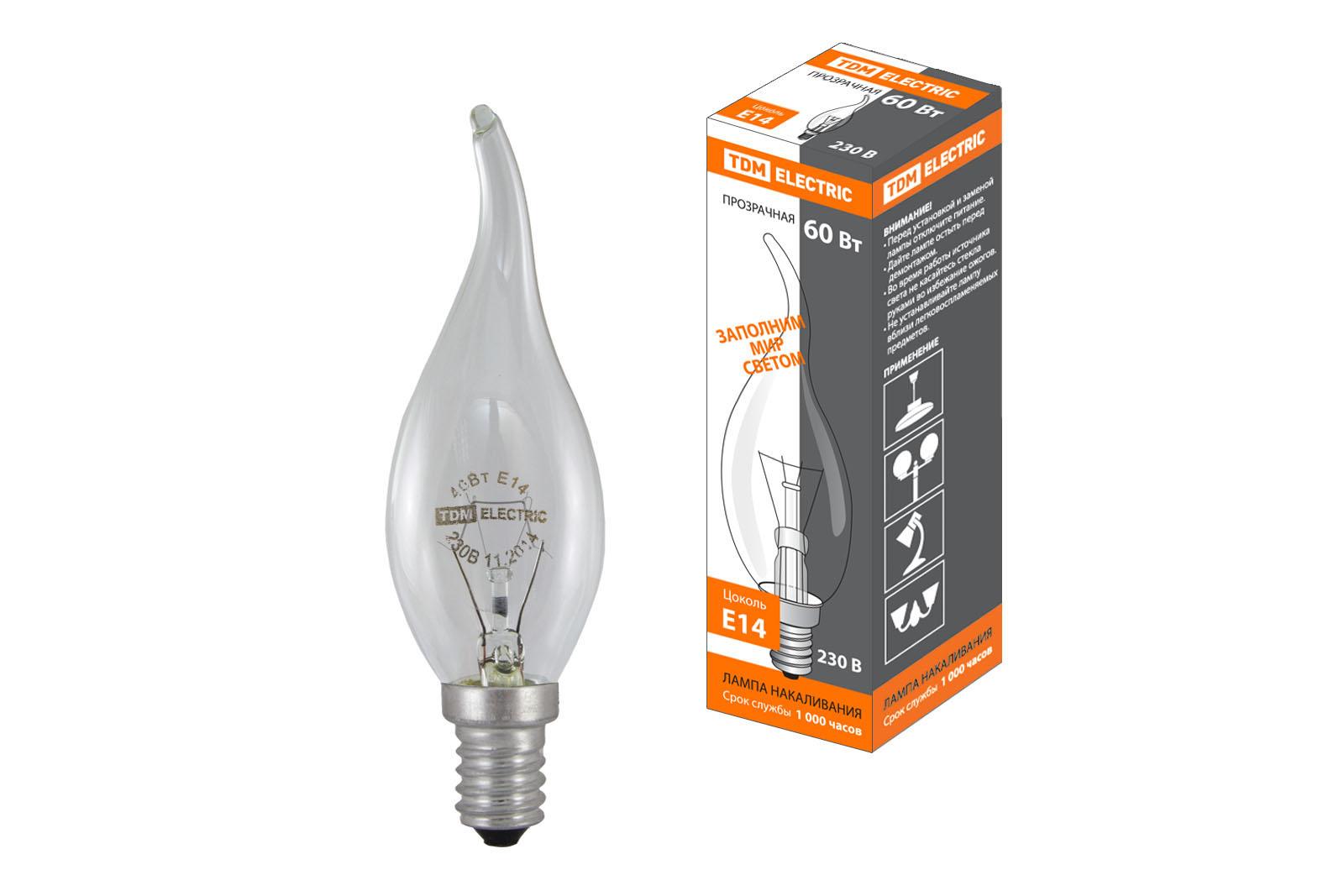 """Фото Лампа накаливания """"Свеча на ветру"""" прозрачная 60 Вт-230 В-Е14 TDM {SQ0332-0016}"""