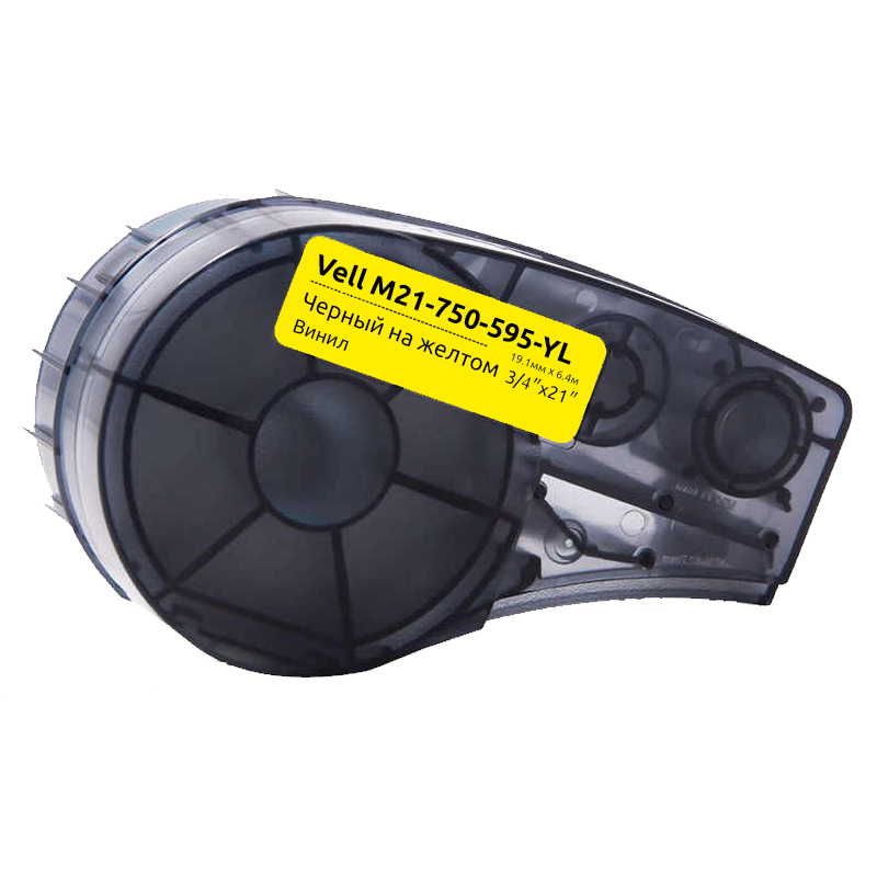 Фото Картридж Vell M21-750-595-YL (19.05 мм / 6.4 м, винил, черный на желтом, VL142811)