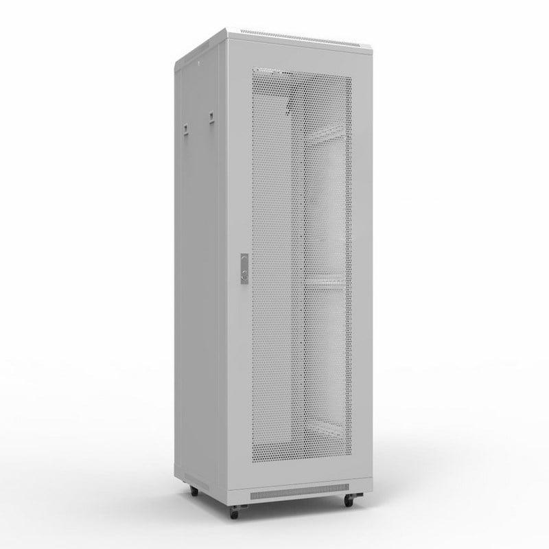 """Фото 19"""" Напольный шкаф Rexant серии Standart 22U 600х600 мм, передняя и задняя дверь перфорация {04-2339}"""