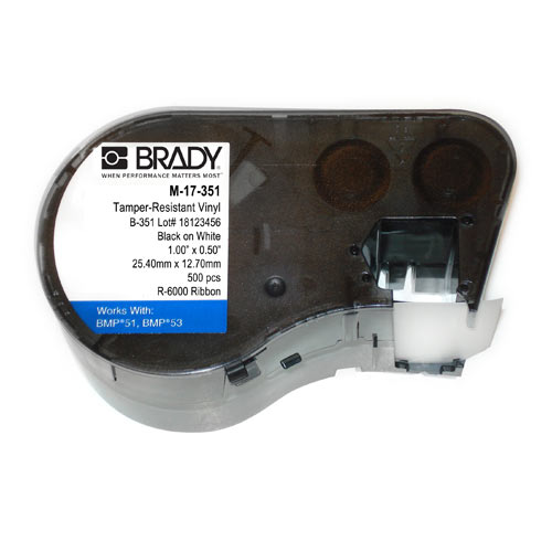 Фото Пломбировочная лента Brady M-17-351, 25.4 х 12.7 мм, черный на белом {brd143233}