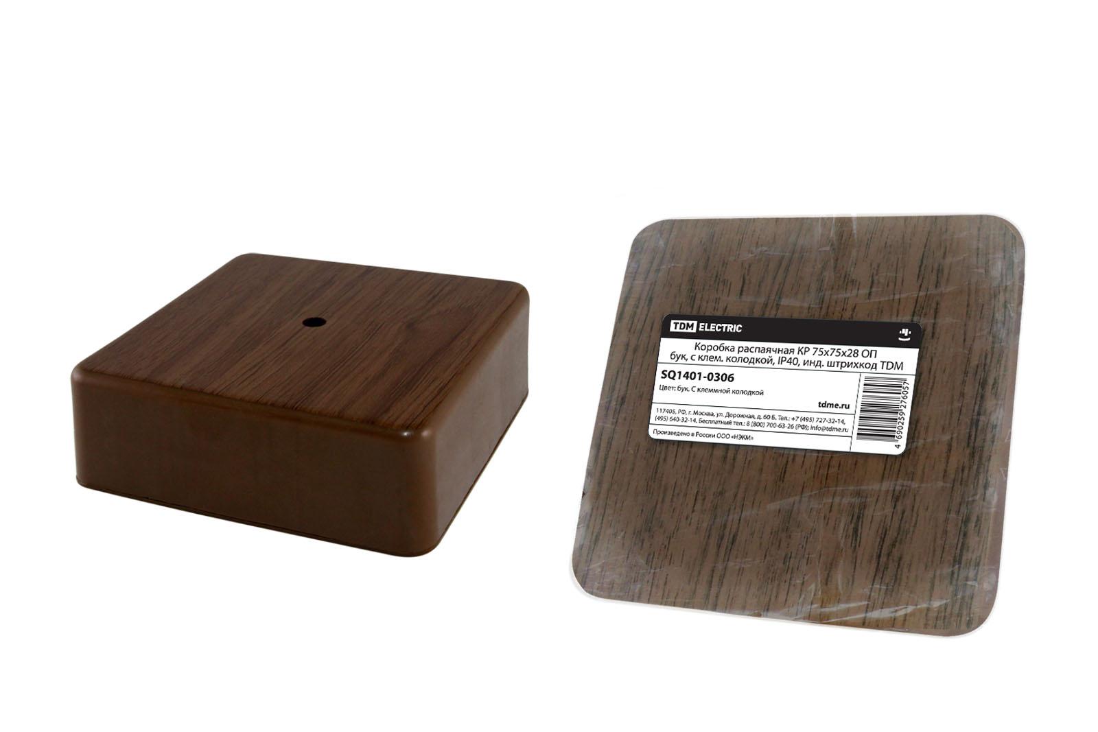 Фото Коробка распаячная КР 75х75х28 ОП бук, с клем. колодкой, IP40, инд. штрихкод TDM {SQ1401-0306}
