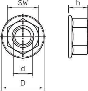 Фото Гайка шестигранная со стопорной шайбой DIN 6923 M12 VA OBO 3156126 (1)