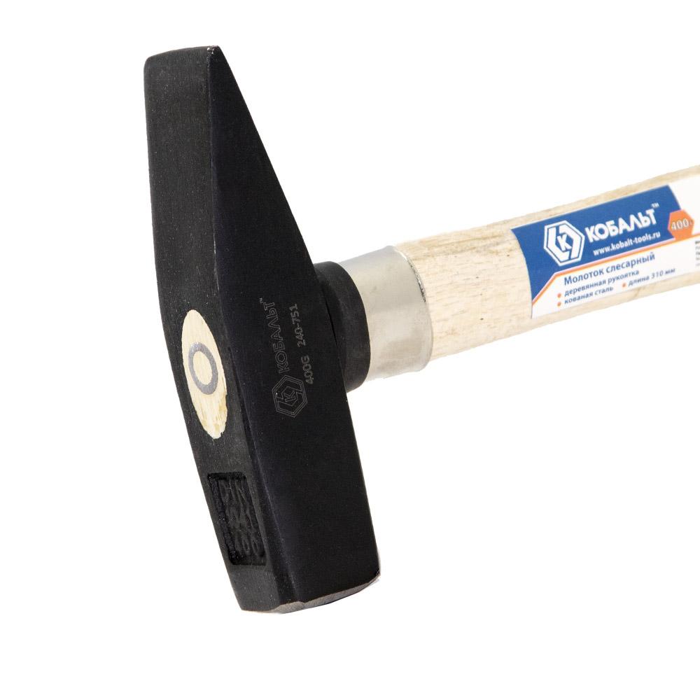 Фото Молоток слесарный КОБАЛЬТ 400 г, деревянная рукоятка {240-751} (2)