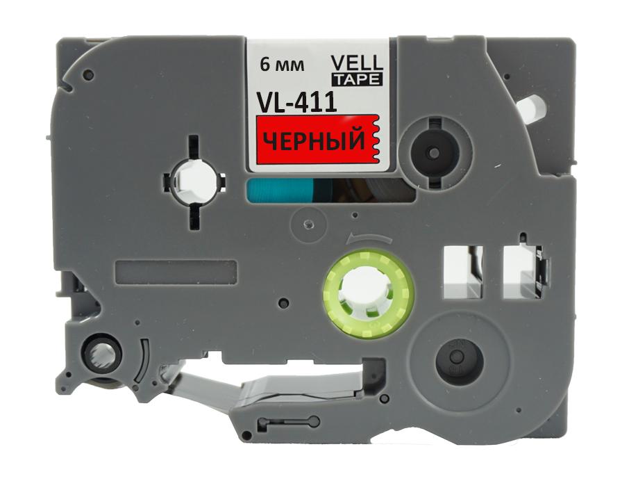 Фото Лента Vell VL-411 (Brother TZE-411, 6 мм, черный на красном) для PT 1010/1280/D200/H105/E100/ D600/E300/2700/ P700/E550/9700 {Vell411} (1)