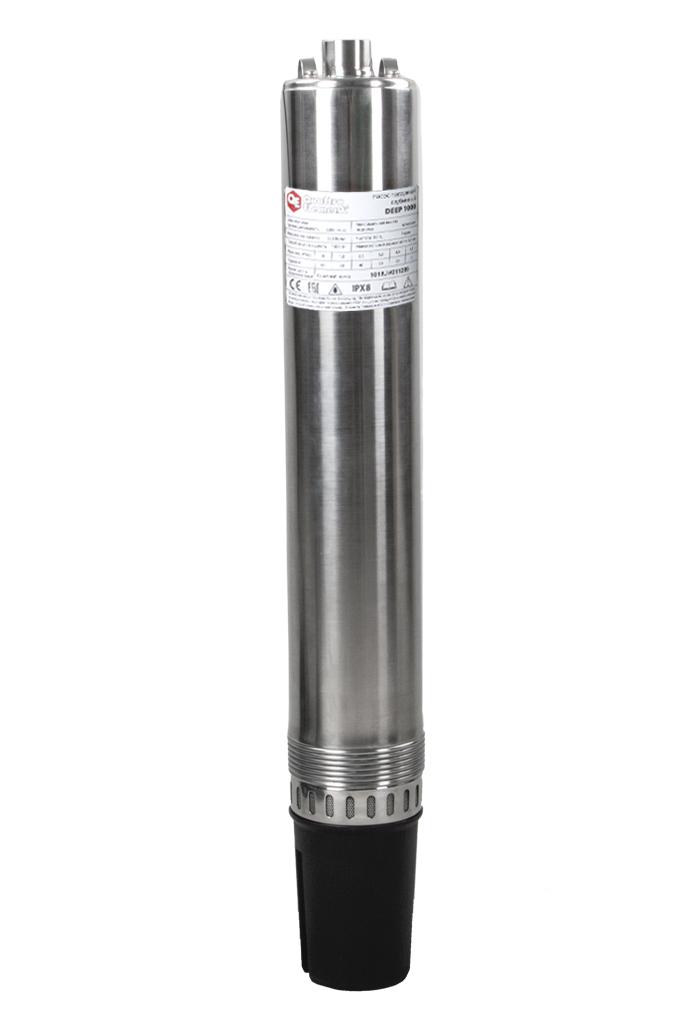 Фото Глубинный насос Quattro Elementi Deep 1000 (1000 Вт, 5200 л/ч, для чистой, 60 м, 10.8 кг, нержавеющий корпус, провод 20 м) {918-665}