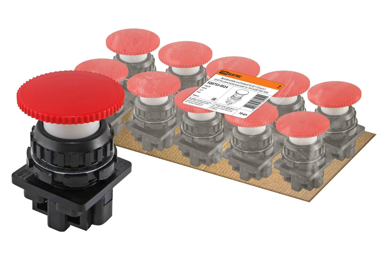 Фото Выключатель кнопочный КЕ 021-У2-исп.5 гриб без фиксации красный 1р 10A 660B IP40 TDM {SQ0753-0024}