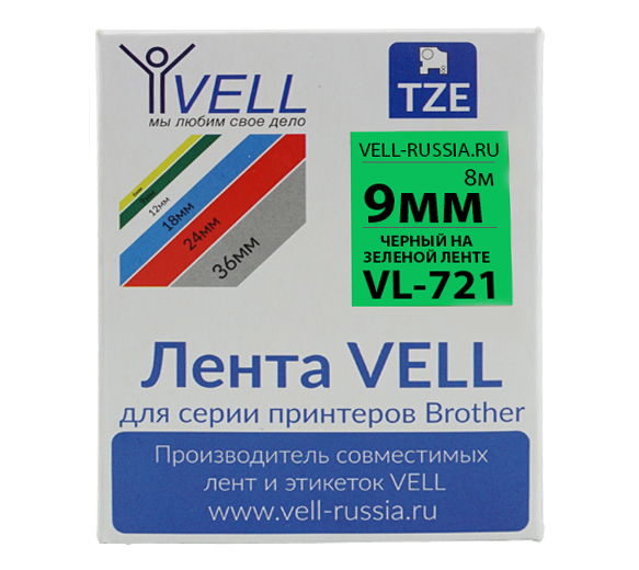 Фото Лента Vell VL-721 (Brother TZE-721, 9 мм, черный на зеленом) для PT 1010/1280/D200/H105/E100/ D600/E300/2700/ P700/E550/9700 {Vell721}