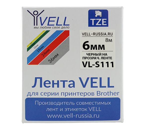 Фото Лента Vell VL-S111 (Brother TZE-S111, 6 мм, черный на прозрачном) для PT 1010/1280/D200/H105/E100/ D600/E300/2700/ P700/E550/970 {Vells111}