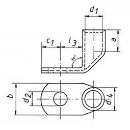 Фото Наконечники медные угловые Klauke стандарт с контрольным отверстием 50 мм² под винт М10 {klk46R10MS} (1)