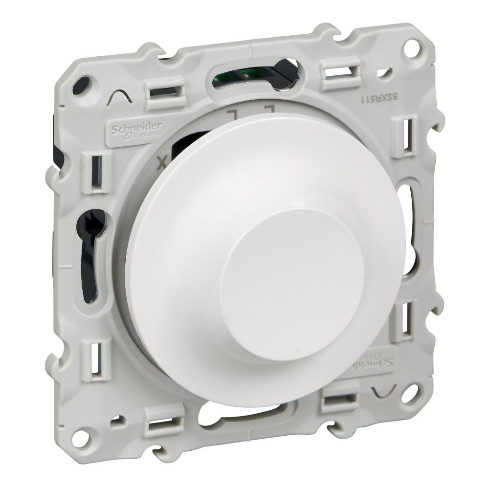 Фото ODACE светорегулятор поворотно-нажимной, 40-600 ва, белый {S52R511}