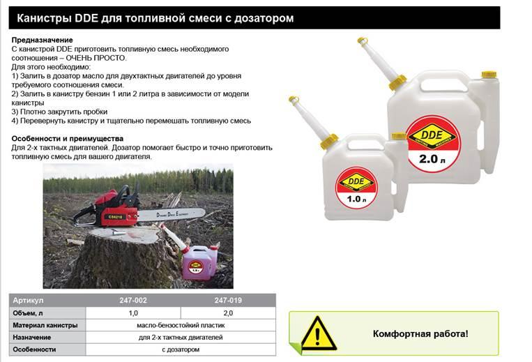 Фото Канистра DDE для приготовления топливной смеси, 1 л, трубка для заливки {247-002} (1)