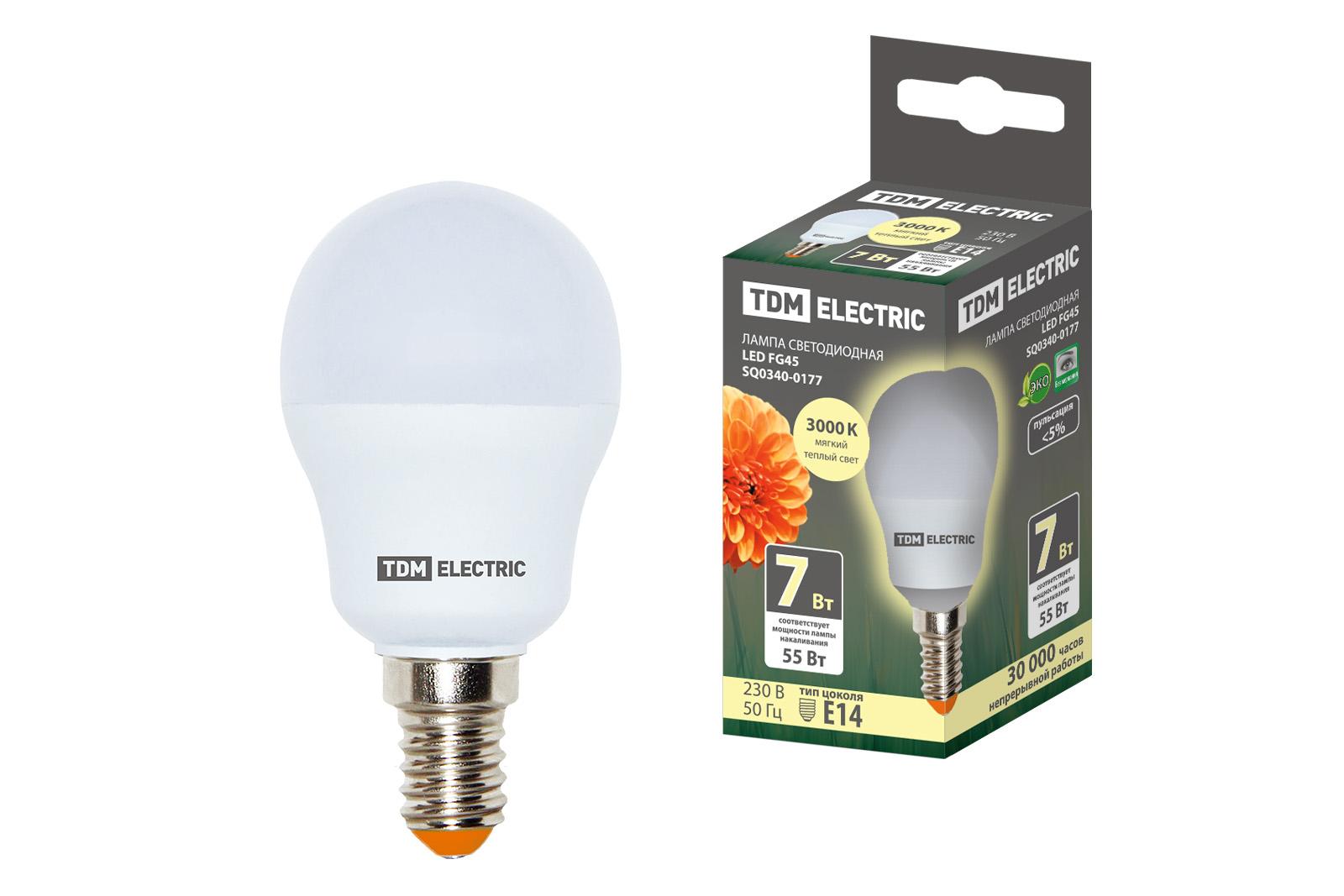 Фото Лампа светодиодная FG45-7 Вт-230 В-3000 К–E14 TDM {SQ0340-0177}