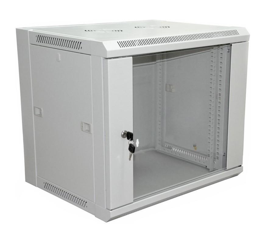 """Фото 19"""" Настенный шкаф Rexant 9U 600×600×500 мм (ШxГxВ) - передняя дверь стекло, боковые стенки съемные (разобранный) RAL 7035 {04-2221}"""
