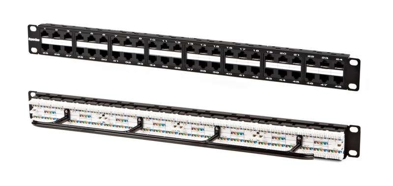 Фото Патч-панель PPHD-19-48-8P8C-C5e-110D высокой плотности 19дюйм 1U 48 портов RJ45 кат. 5e Dual IDC Hyperline 32809